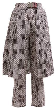 Fendi Romantic Tiles Print Silk Crepe Trousers - Womens - Pink Print