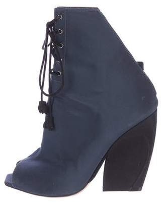 Christian Dior Canvas Lace-Up Booties