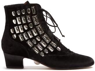 SAMUELE FAILLI Maya stud-embellished suede ankle boots