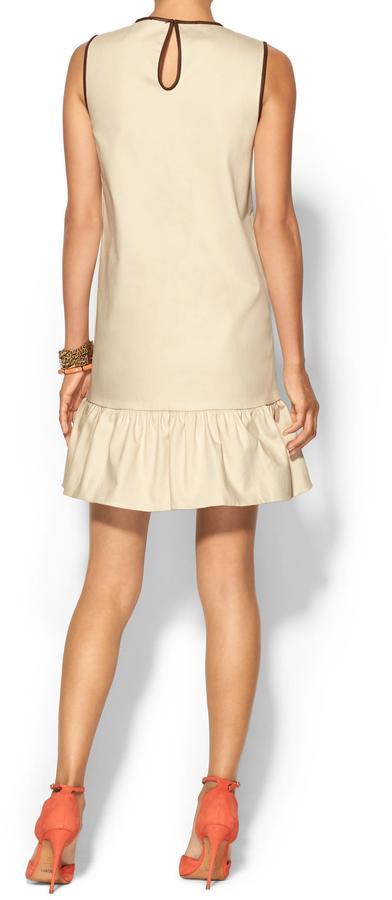 Kate Spade Leather Trim Drop Waist Dress