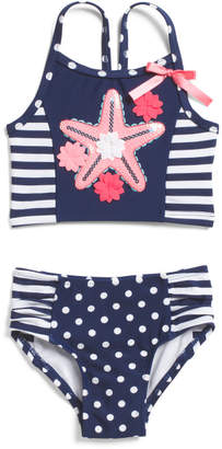 Flapdoodles Infant Girls 2pc Starfish Swimsuit
