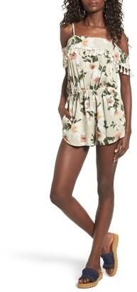 Women's Mimi Chica Tassel Trim Off The Shoulder Romper $45 thestylecure.com