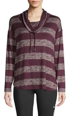 Calvin Klein Cowl-Neck Striped Drawstring Sweatshirt
