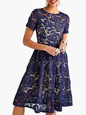 Yumi Curves Lace Overlay Party Dress, Navy