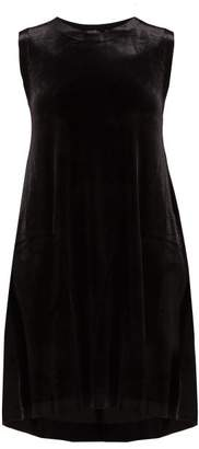 Norma Kamali Sleeveless Stretch Velvet Midi Dress - Womens - Black