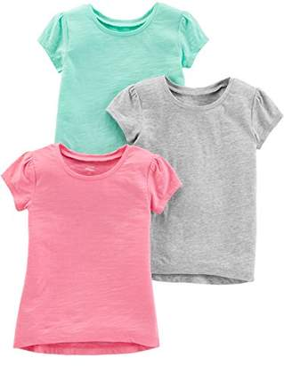 Carter's Simple Joys by Girls' Toddler 3-Pack Solid Short-Sleeve Tee Shirts