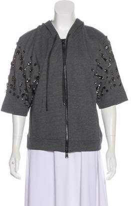 Haute Hippie Embroidered Hooded Short Sleeve jacket