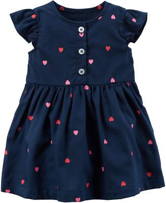 Carter's Baby Girl Navy Heart Print Dress with Bloomers
