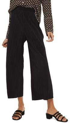 Topshop Track Band Plisse Wide Leg Trousers