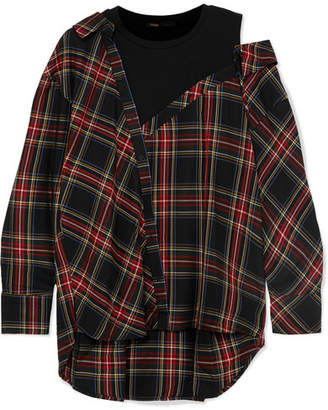 Maje Layered Plaid Twill And Stretch-cotton Jersey Top