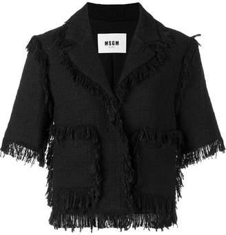 MSGM fringed short-sleeve jacket