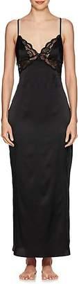 GILDA & PEARL Women's Rita Lace-Trimmed Silk Long Slip - Black