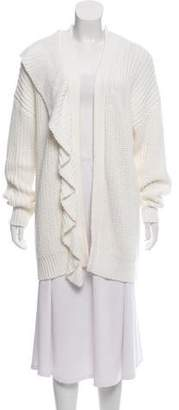 Line Ruffle-Accented Open-Front Cardigan
