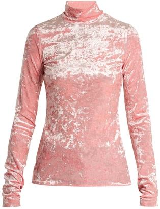 Tibi High-neck crushed-velvet top