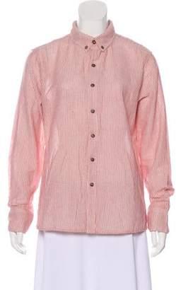 Barneys New York Barney's New York Pointed Collar Long Sleeve Button-Up