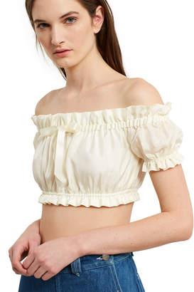 Daisy Silk Bow Crop Top