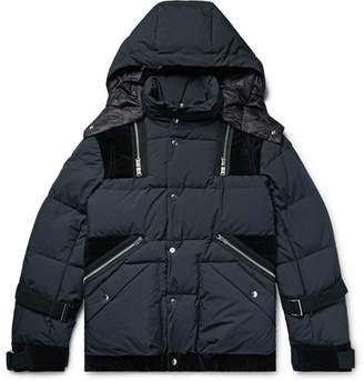 Sacai Velvet-Trimmed Quilted Ripstop Hooded Down Jacket