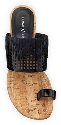 Donald J Pliner Cutout Patent Cork-Wedge Sandals