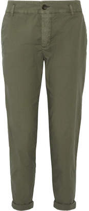 James Perse Cropped Brushed Stretch-cotton Pants - Army green