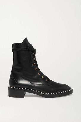 Stuart Weitzman Sondra Faux Pearl-embellished Leather Ankle Boots - Black