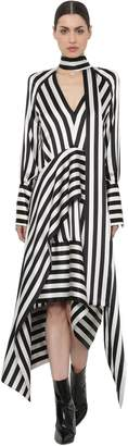 Petar Petrov Striped V Neck Satin Bow Collar Dress