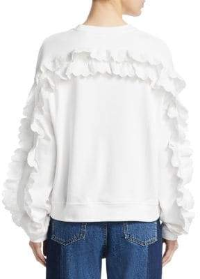 McQ Cotton Ruffled Sweatshirt