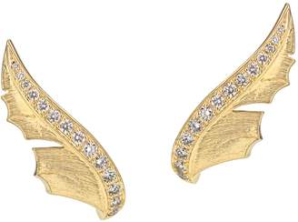 Stephen Webster Yellow Gold and Pave Diamond Magnipheasant Stud Earrings