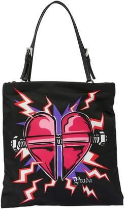 Prada Nylon handbag with Heart print