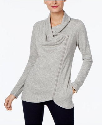 INC International Concepts Draped Zipper Cardigan, Only at Macy's $69.50 thestylecure.com
