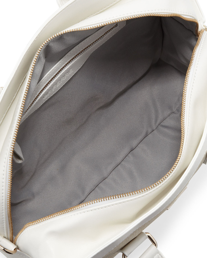 Gianfranco Ferre GF Large Woven-Center Satchel Bag, White