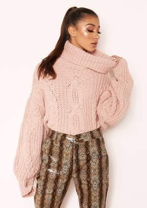 Missy Empire Missyempire Hana Pink Cable Knit Roll Neck Jumper 986e02741