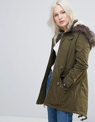 Brave Soul Parka Coat in Mid Length with Faux Fur Hood