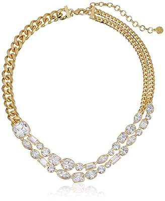 Nicole Miller Mixed Cushion Collar Gold/Clear Necklace
