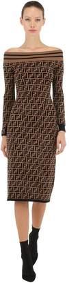 Fendi Logo Off-The-Shoulder Knit Dress