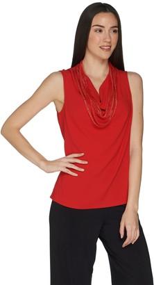 Brooke Shields Timeless BROOKE SHIELDS Timeless Sleeveless Chiffon Top w/ Chain Detail