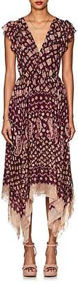 Ulla Johnson Women's Aurelie Silk-Blend Fil Coupé Asymmetric Dress - Wine