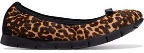 Salvatore Ferragamo My Sporty Bow-Embellished Leopard-Print Calf Hair Ballet Flats