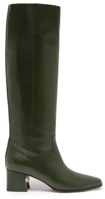 Nicholas Kirkwood Miri Faux Pearl Embellished Leather Knee Boots - Womens - Dark Green