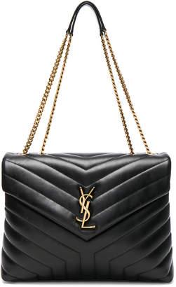 Saint Laurent Medium Supple Monogramme Loulou Chain Bag in Black & Gold | FWRD