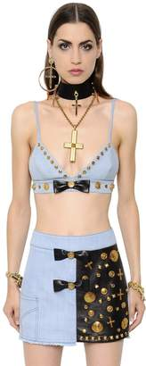 Fausto Puglisi Cotton Denim Bra Top W/ Leather Bow