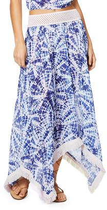 Ramy Brook Riviera Printed Handkerchief Long Skirt with Fringe