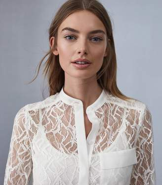 Reiss BETSEY SEMI SHEER LACE SHIRT Off White