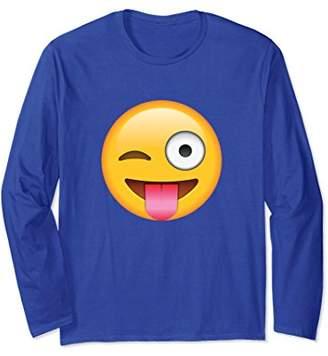 Tongue Out Emoji with Winking Eye Long Sleeve T Shirt