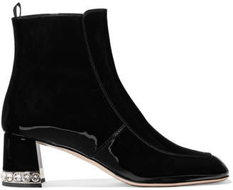 Miu Miu Crystal-embellished Patent-leather Ankle Boots - Black