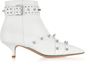 RED Valentino Milk Leather Mid-Heel Ankle Boots