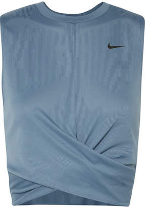 Nike Cropped Twisted Dri-fit Tank - Teal