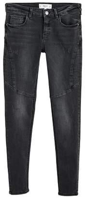 MANGO Skinny black Biker jeans