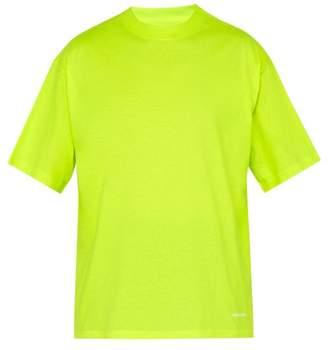 Balenciaga Logo Embroidered Cotton T Shirt - Mens - Yellow