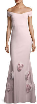 Chiara Boni Lobelia Asymmetric Rose Mermaid Gown