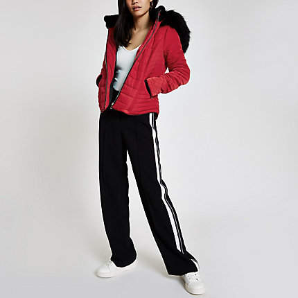 Womens Red faux fur hood padded jacket